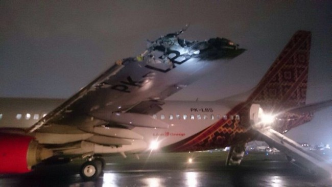 Planes collide while taxiing at Jakarta airport